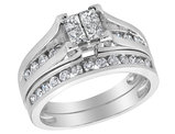 9/10 Carat (ctw I-J,I2) Princess Cut Diamond Engagement Ring & Bridal Wedding Band Set in 14K White Gold