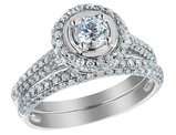 1.25 Carat (ctw G-H, I1-I2) Diamond Engagement Ring & Wedding Band Set in 14K White Gold
