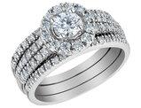 1.25 Carat (ctw) Halo Diamond Engagement Ring & Wedding Band Set in 14K White Gold