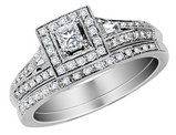 1/2 Carat (ctw) Princess Cut Diamond Engagement Ring & Wedding Band Set in 14K White Gold