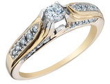Diamond Engagement Ring 1/3 Carat (ctw Color G-H Clarity I1-I2) in 14K Yellow Gold