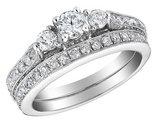 1.50 Carat (ctw H-I, I2-I3)Three Stone Diamond Engagement Ring & Wedding Band Set in 14K White Gold