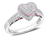 Diamond Heart Promise Ring  1/3 Carat (ctw Color J-K, I2-I3) in 10K White and Pink Gold