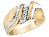 Mens Diamond Wedding Band 1/10 Carat (ctw) in 10K Yellow Gold