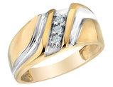 Mens Diamond Wedding Band 1/10 Carat (ctw) in 10K Yellow Gold