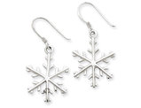 Winter Snowflake Dangle Drop Earrings in Sterling Silver