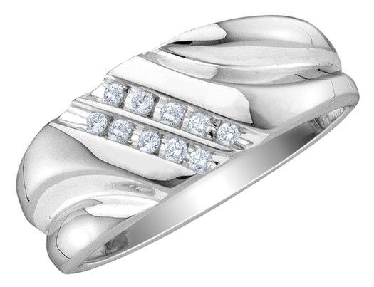 Mens Diamond Wedding Band 1/10 Carat (ctw) in 10K White Gold