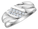 Mens Diamond Wedding Band 1/10 Carat (ctw) in 10K White Gold