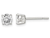 Synthetic Cubic Zirconia Solitaire Stud Earrings 1.00 Carat (ctw) in Sterling Silver