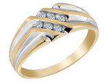 Mens Diamond Wedding Band 1/8 Carat (ctw I2-I3) in 10K Yellow Gold