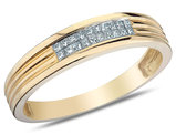 Mens Diamond Wedding Band 1/6 Carat (ctw) in 10K Yellow Gold