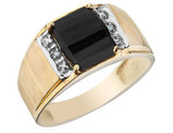 Mens Onyx Ring with Diamonds in 10K Yellow Gold