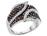 White and Champagne Diamond Ring 1.00 Carat (ctw I-J, I2-I3) in 10K White Gold