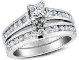 1.00 Carat (ctw H-I, I1-I2) Princess Cut Diamond Engagement Ring & Wedding Band Set in 14K White Gold