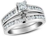 1.00 Carat (ctw H-I, I1-I2) Princess Cut Diamond Engagement Ring & Wedding Band Set in 14K White Gold