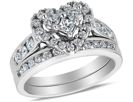 1.00 Carat (ctw H-I, I1-I2) Diamond Heart Engagement Ring & Wedding Band Set in 14K White Gold