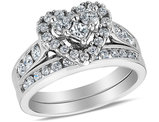 1.00 Carat (ctw H-I, I1-I2) Diamond Heart Engagement Ring & Wedding Band Set in 14K White Gold