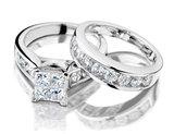 3.00 Carat (ctw H-I, I2-I3) Princess Cut Diamond Engagement Ring and Wedding Band Bridal Set 14K White Gold