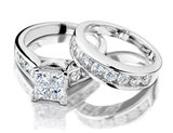 3.00 Carat (ctw H-I, I2-I3) Princess Cut Diamond Engagement Ring and Wedding Band Bridal Set 14K White Gold