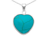 Turquoise Heart Pendant Necklace in Sterling Silver with Chain