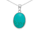 Turquoise Oval Pendant Necklace in Sterling Silver with Chain