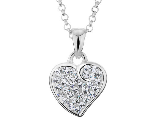 Synthetic Crystal Heart Pendant Necklace in Sterling Silver with Chain