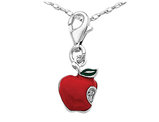 Red Enameled Apple Charm Pendant Necklace in Sterling Silver with Chain