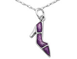 Purple Enameled High Heel Pendant Necklace in Sterling Silver with Chain