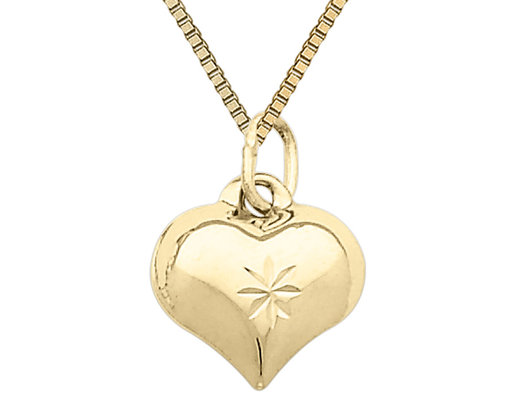 14K Yellow Gold Puffed Heart Pendant Necklace with Chain