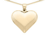Puffed Heart Pendant Necklace in 14K Yellow Gold with Chain