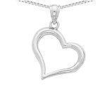 Classic Open Heart Pendant Necklace in  Polished 14K White Gold with Chain