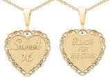 Sweet 16 Reversible Heart Pendant Necklace in 14K Yellow Gold with Chain