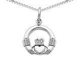 Claddagh Pendant Necklace in 14K White Gold with Chain