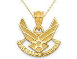14K Yellow Gold U.S Air Force Pendant Necklace with Chain