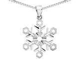 Snowflake Pendant Necklace in 14K White Gold with Chain