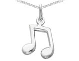 14K White Gold Music Note Charm Pendant Necklace with chain