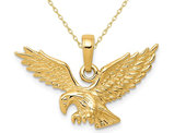 14K Yellow Gold Eagle Charm Pendant Necklace with Chain