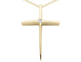14K Yellow Gold Cross Pendant Necklace with Accent Diamond and Chain