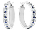 Sapphire and Diamond Oval Hoop Earrings 1/8 Carat (ctw) in Sterling Silver (3/4 Inch)