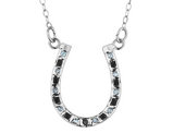 Black and White Diamond Horseshoe Necklace in Sterling Silver with Chain
