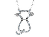 Cat Pendant Necklace in Sterling Silver with Chain and Accent Diamonds