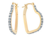 Diamond Accent Heart Hoop Earrings in 14K Yellow Gold (3/4 Inch)