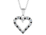 Black and White Accent Diamond Heart Pendant Necklace 18 Inches in Sterling Silver with Chain