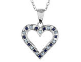 Natural Accent Blue Sapphire and Accent Diamond Heart Pendant Necklace in Sterling Silver with Chain