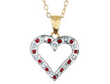 Natural Accent Ruby and Accent Diamond Heart Pendant Necklace in Sterling Silver with Chain