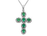 Natural Green Emerald Cross Pendant Necklace 9/10 Carat (ctw) in 14K White Gold