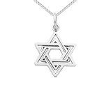 Star Of David Pendant Necklace in 14K White Gold with Chain
