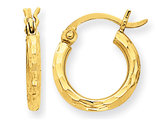 Extra Small Diamond Cut Hoop Earrings in 14K Yellow Gold (2.00mm)