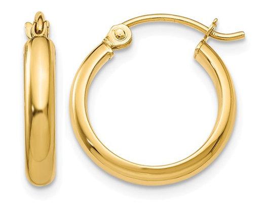 Small Hoop Earrings in 14K Yellow Gold 1/2 Inch (2.75 mm)