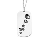 'Footsteps' Dog Tag Pendant Necklace in Sterling Silver with Chain